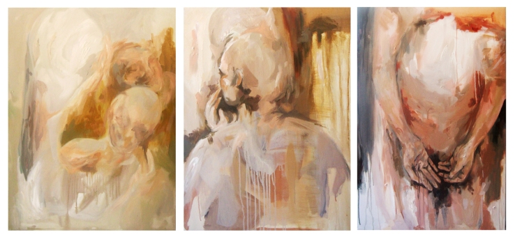 I am present (tryptic), acrylic on canvas, 80cm x 180cm, 2015.